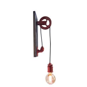 Luminária arandela  estilo carretilha  cor vermelha